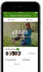 GoFundMe page on a mobile app