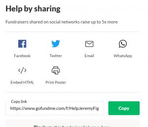 GoFundMe page share screen